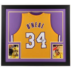 Shaquille O'Neal Signed Lakers 31x35 Custom Framed Jersey (JSA COA)