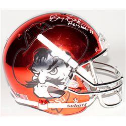 "Barry Sanders Signed Oklahoma State Cowboys Full-Size Orange Chrome Speed Helmet Inscribed ""Heisman"