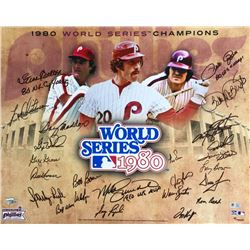 1980 Philadelphia Phillies 16x20 Photo Team-Signed by (24) with Mike Schmidt, Pete Rose, Steve Carlt