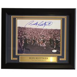 Rudy Ruettiger Signed Notre Dame Fighting Irish 11x14 Custom Framed Photo Display (JSA COA)