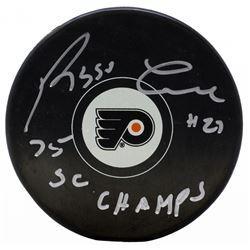 Reggie Leach Signed Philadelphia Flyers Logo Hockey Puck Inscribed  75 SC Champs  (JSA COA)