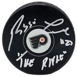 "Reggie Leach Signed Philadelphia Flyers Logo Hockey Puck Inscribed ""The Rifle"" (JSA COA)"