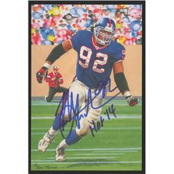 Michael Strahan Signed 2014 LE New York Giants 4x6 Pro Football Hall of Fame Art Collection Card Ins