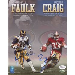 Marshall Faulk  Roger Craig Signed 8x10 Photo (JSA COA  Faulk Hologram  GTSM Hologram)