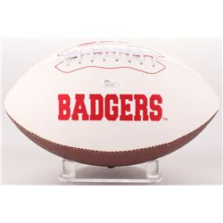 Ron Dayne  Barry Alvarez Signed Wisconsin Badgers Logo Football (JSA COA)