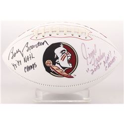 "Jimbo Fisher  Bobby Bowden Signed Florida State Seminoles Logo Football Inscribed ""93, 99  Natl Cham"