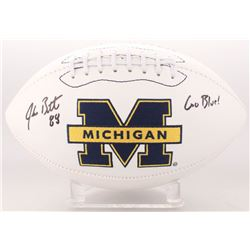 "Jake Butt Signed Michigan Wolverines Logo Football Inscribed ""Go Blue!"" (JSA COA)"