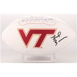 Frank Beamer Signed Virginia Tech Hokies Logo Football (JSA COA)