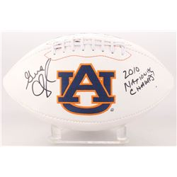 "Gene Chizik Signed Auburn Tigers Logo Football Inscribed ""2010 National Chams"" (JSA COA)"