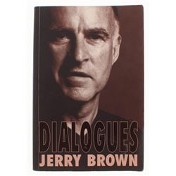 "Jerry Brown Signed ""Dialogues"" Paperback Cover Book (JSA COA)"