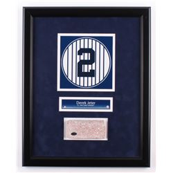 Derek Jeter 16.5x20.5 Custom Framed Number Display with Authentic Monument Park Brick (Steiner COA)