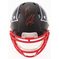 Rob Gronkowski Signed New England Patriots Custom Matte Black Speed Mini Helmet (Beckett COA)