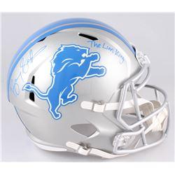 "Barry Sanders Signed Detroit Lions Full-Size Speed Helmet Inscribed ""The Lion King"" (Schwartz Sports"