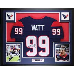 """JJ Watt Signed Texans 35"""" x 43"""" Custom Framed Jersey (JSA COA)"""