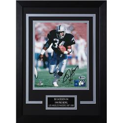 Bo Jackson Signed Raiders 14x18.5 Custom Framed Photo Display (Beckett COA  Jackson Hologram)