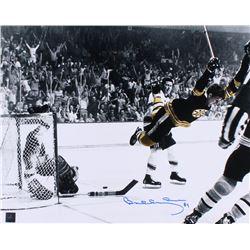 Bobby Orr Signed Bruins  The Flying Goal  16x20 Photo (Orr COA)
