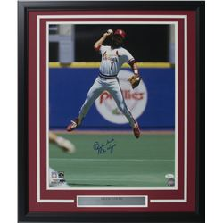 Ozzie Smith Signed St. Louis Cardinals 22x27 Custom Framed Photo Display Inscribed  The Wizard  (JSA