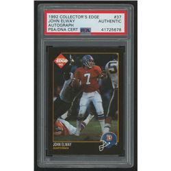 John Elway Signed 1992 Collector's Edge #37 (PSA Encapsulated)