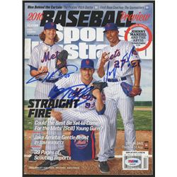Jacob Degrom, Matt Harvey,  Jeurys Familia Signed 2016 Sports Illustrated Magazine (PSA Hologram)