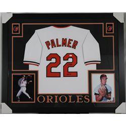 """Jim Palmer Signed Baltimore Orioles 35x43 Custom Framed Jersey Inscribed """"HOF 90"""" (JSA Hologram)"""