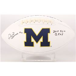 "Devin Bush Signed Michigan Wolverines Logo Football Inscribed ""2018 Big 10 D.P.O.Y"" (Radtke COA)"
