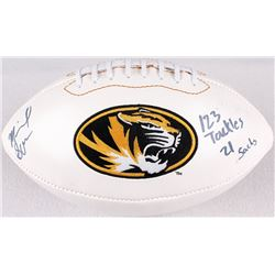 "Michael Sam Signed Missouri Tigers Logo Football Inscribed ""123 Tackles""  ""21 Sacks"" (Radtke COA)"