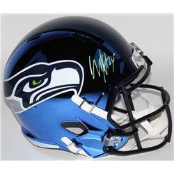 Marshawn Lynch Signed Seattle Seahawks Full-Size Chrome Speed Helmet (Radtke COA)