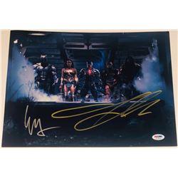 "Ezra Miller  Jason Momoa Signed ""Justice League"" 11x14 Photo (PSA Hologram)"