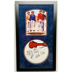 The Monkees 16.5x28 Custom Framed Drumhead Display Signed by (4) with Davy Jones, Peter Tork, Michae