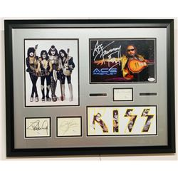 KISS 20x25 Custom Framed Photo  Signature Display Signed by (4) with Paul Stanley, Peter Criscuola,