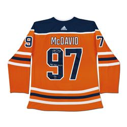 """Connor McDavid Signed LE Edmonton Oilers Authentic Adidas Captain Jersey Inscribed """"41 G, 67 A, 108"""
