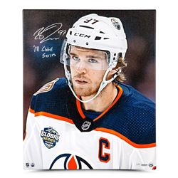 """Connor McDavid Signed Edmonton Oilers 20x24 Limited Edition Canvas Inscribed """"18 Global Series"""" (UDA"""