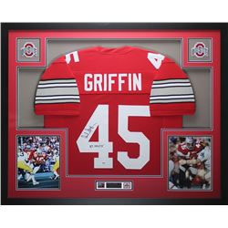 """Archie Griffin Signed Ohio State Buckeyes 35"""" x 43"""" Custom Framed Jersey Inscribed """"H.T. 1974/75"""" (P"""