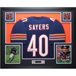 "Gale Sayers Signed Bears 35"" x 43"" Custom Framed Jersey (JSA COA)"