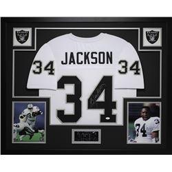 "Bo Jackson Signed Raiders 35"" x 43"" Custom Framed Jersey (JSA COA)"