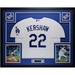 "Clayton Kershaw Signed Dodgers 35"" x 43"" Custom Framed Jersey (PSA COA)"