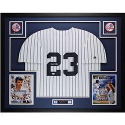 Don Mattingly Signed New York Yankees 35x43 Custom Framed Jersey Display (JSA COA)