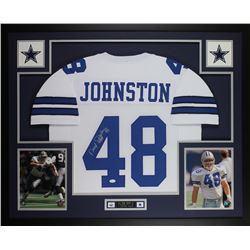 Daryl Johnston Signed Dallas Cowboys 35x43 Custom Framed Jersey (JSA COA)