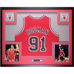 Dennis Rodman Signed Chicago Bulls 35x43 Custom Framed Jersey (PSA COA)