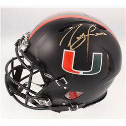 Ray Lewis Signed Miami Hurricanes Full-Size Custom Matte Black Authentic On-Field Speed Helmet (JSA