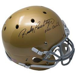 "Rudy Ruettiger Signed Notre Dame Fighting Irish Full-Size Helmet Inscribed ""Never Quit"" (JSA COA)"