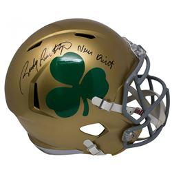 "Rudy Ruettiger Signed Notre Dame Fighting Irish Full-Size Speed Helmet Inscribed ""Never Quit"" (JSA C"