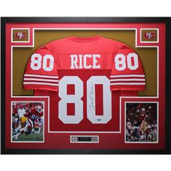 Jerry Rice Signed San Francisco 49ers 35x43 Custom Framed Jersey Display (TriStar Hologram)