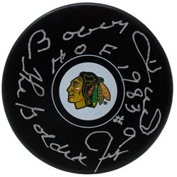"Bobby Hull Signed Chicago Blackhawks Hockey Puck Inscribed ""HOF 1983""  ""The Golden Jet"" (TriStar Hol"
