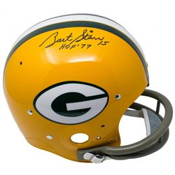 "Bart Starr Signed Green Bay Packers TK Full-Size Suspension Helmet Inscribed ""HOF 77"" (TriStar Holog"