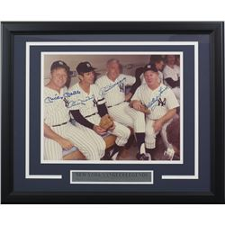 New York Yankees 16x20 Custom Framed Photo Display Signed by (4) with Mickey Mantle, Billy Martin, J