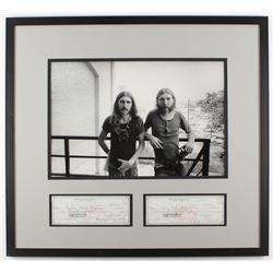 Duane Allman  Berry Oakley SIgned 25.5x27.75 Custom Framed Check Display (Beckett LOA)