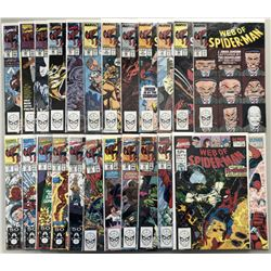 """Lot of (24) 1989-1991 Marvel """"Web of Spider-Man"""" Comic Books with 1st Series #52-76  Annual #6  #7"""