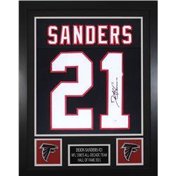 Deion Sanders Signed Atlanta Falcons 24x30 Custom Framed Jersey (JSA COA)