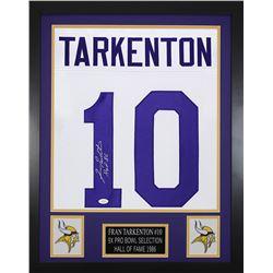 """Fran Tarkenton Signed Minnesota Vikings 24x30 Custom Framed Jersey Inscribed """"HOF 86"""" (JSA COA)"""